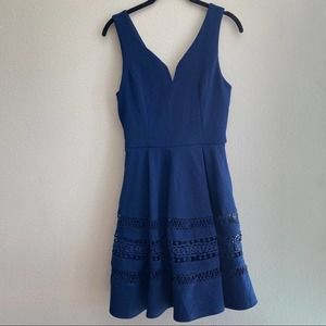 Annabella Navy Pleated Texture Lace Dress